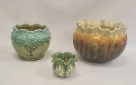 Watcombe pottery jardiniere decorated with shells and seaweed in green and blue glazes, 19cm high, a