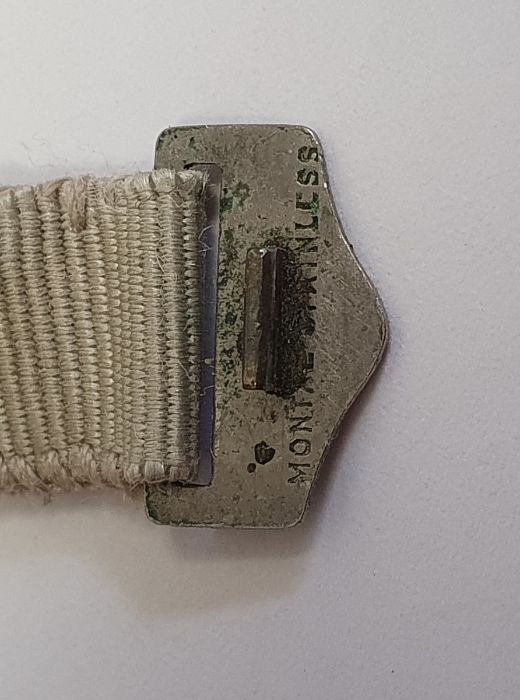 A 1920s platinum and diamond lady's wristwatch on fabric strap, oval with Arabic numerals and an - Image 7 of 10