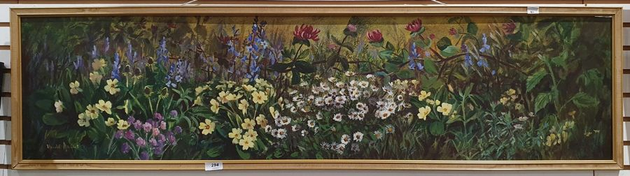 S Anqus Oil on board Wild flowers, signed lower left, 30cm x 121cm Downey(?) Oil on canvas - Image 2 of 6
