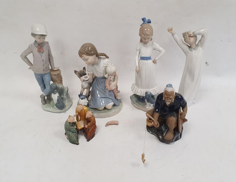 Lladro figure of a little girl with doll and kitten, Nao figures, a Chinese figure of a gentleman