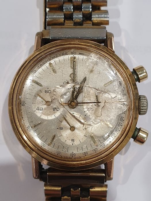 Omega Seamaster gentleman's gold-plated chronograph bracelet watch, the silvered dial with baton - Image 5 of 8