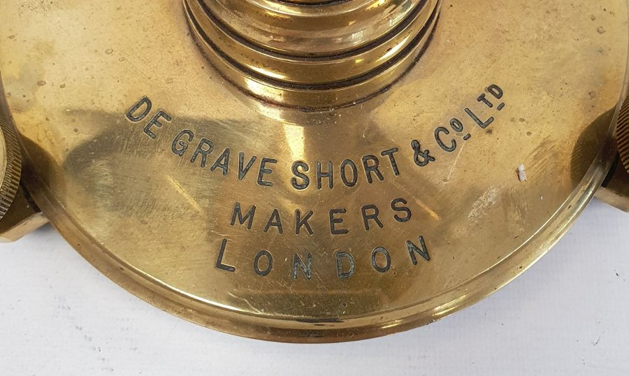 De Grave Short & Co Ltd makers, London, adjustable brass stand fitted with spirit levels, 33cm high - Image 2 of 3