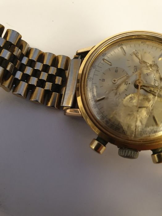 Omega Seamaster gentleman's gold-plated chronograph bracelet watch, the silvered dial with baton - Image 4 of 8