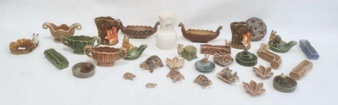 Modern Belleek porcelain vaseand a quantity of Wade pottery items including model tortoises,
