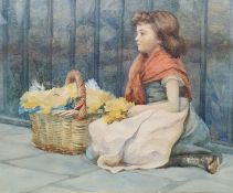 British school, Watercolour Girl with basket of flowers 23 x 27 cm (torn gallery label verso)