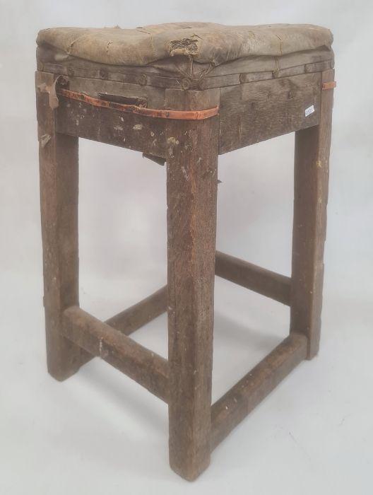 Industrial style oak framed stool