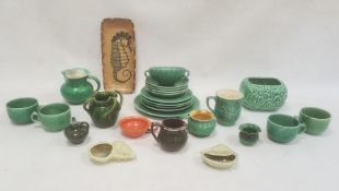 Allervale pottery vasewith green glaze and four applied handles, a Sylvac pottery planterwith