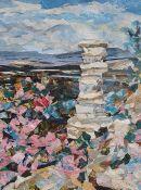Val Stacey (20th century school) Collage Devils Chimney , Leckhampton Hill , Cheltenham signed