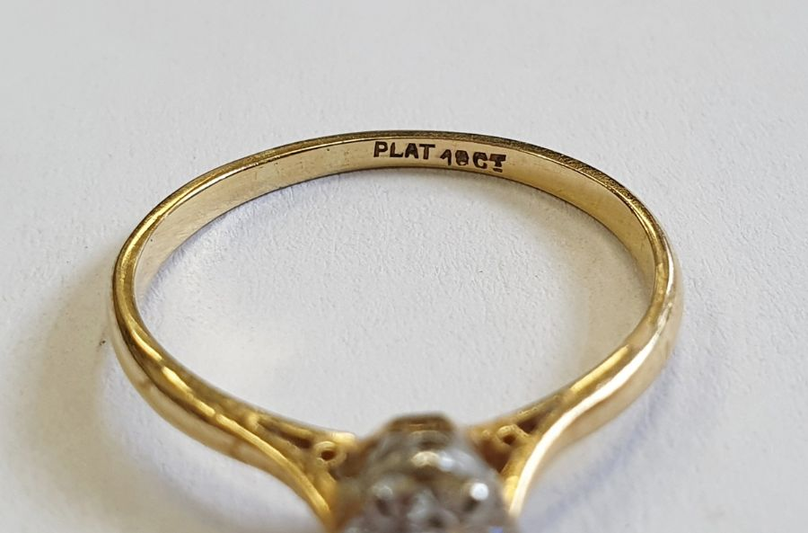 18ct gold diamond solitaire ring, round brilliant stone, 5mm in diameter approx. 0.67ct, colour H/I, - Image 4 of 4