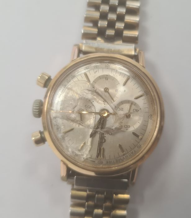 Omega Seamaster gentleman's gold-plated chronograph bracelet watch, the silvered dial with baton - Image 2 of 8