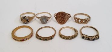 9ct gold ring, 1.5g approx., a 9ct gold St Christopher ring, 2.5g approx., a 9ct gold diamond and