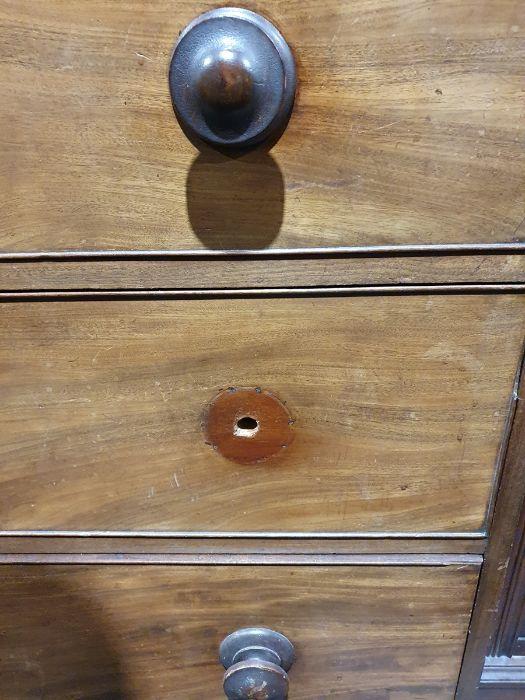 19th century mahogany linen press, two flame mahogany doors enclosing linen press drawers, base - Image 10 of 21