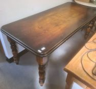 Oak pub table, rectangular with rounded corners, turned supports, 180cm