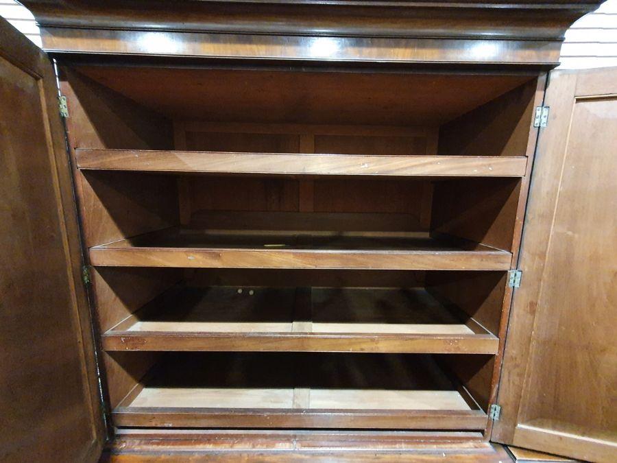 19th century mahogany linen press, two flame mahogany doors enclosing linen press drawers, base - Image 12 of 21