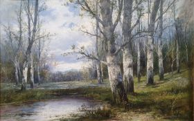 L. Bader - 20th century Oil on canvas Woodland view with lake in the foreground, signed lower right,