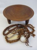 Wooden carved Kava mixing bowlwith ceremonial attachments of white cowrie shells, with British