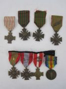 Collection of eight WWI French war medals