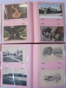 Three albums of 20th century postcardson various locations to include Cambridge, East Grinstead,