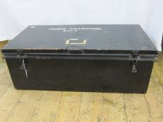 Military metal trunk, a white (nurse's?) uniform andcollection of army mugs