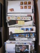 Box of least 400 FDCs from Jersey, Guernsey and Isle of Man (1 box)