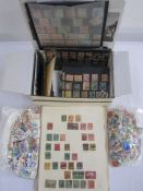 Box with over 100 small and medium stock cards,all with good mint/used Commonwealth stamps,
