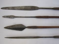 Four assorted spearswith wooden handles (4) Condition ReportApprox. 101cm, 118cm, 139cm and