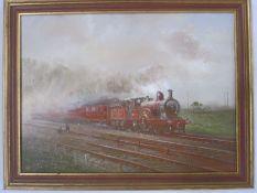 John Mace (20th century school) Oil on board Study of a train on tracks, 'M.R 1870', initialled