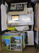 Box of stampsincluding First Day Covers, other covers, postcards,(1 box)