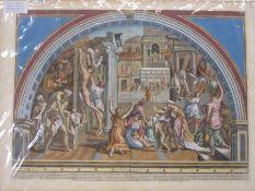 """Aquila Faraone Francesco, circa 1676-1740 after Raphael Handcoloured engravings """"Incendio di"""