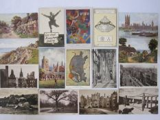 Quantity of postcards, early to mid 20th century, four adverts, 50 for art, 80 real photographic