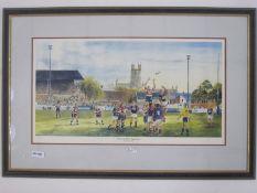 Colour print of Gloucester RFC, Kingsholm by Jenny Steward