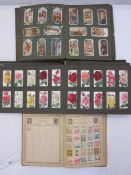 Old Roland Hill stamp album, a few all world stamps, GB, Europe (3 albums) and 2 albums of cigarette