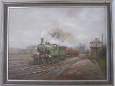 John Mace (20th century school) Oil on board LWSR train, no.0353 leaving station, initialled lower