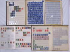 Albums of GB used and unused stamps, some first day covers and foreign stamps (1 box)