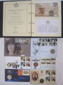 Book of commemorative Elizabeth II nickel £5 and crowns, some with first day cover coins and loose