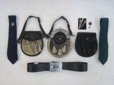 Two Nicol Bros Bankfoot leather, fur and metal sporrans, another without belt in leather with