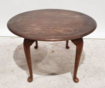 Mid century modern style circular coffee table with elm top (probably Ercol), on replacement
