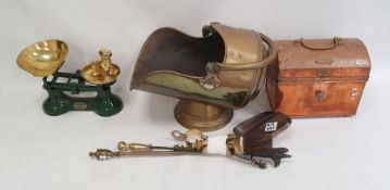 Set of green painted and brass pan scaleswith weights, copper table-top chest, brass coal bucket