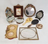 Barbola mirrors, small gilt framed oval mirror, picture framesand similar items (1 box)