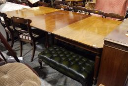 William IV mahogany extending dining table with single leaf, rectangular, on reeded tapering