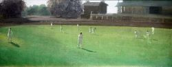 """Douglas Stannus Gray (1890-1959) Oil on canvas """"Cricket"""", with ink stamp for Spink Nevill Keating"""