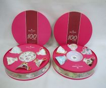 Two sets of Royal Albert china '100 Years Commemorative' decorative teacups and saucers(2 boxes