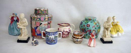 Two Oriental ginger jars, Royal Doulton 'Lady Charmian' HN1948, Royal Doulton 'Diana' figure,