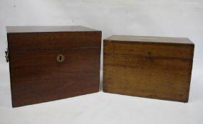 19th century mahogany rectangular lidded boxwith brass carry handles and a similar oak example(2)