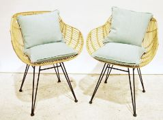 Pair of modern cane tub-type chairson hairpin supports (2)