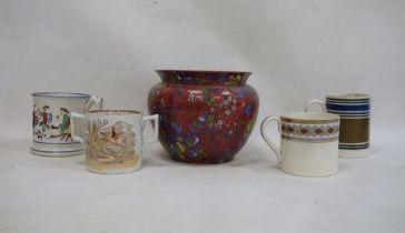 19th century Staffordshire 'Frog' tankard, a two-handled mug, E.M.& Co, two other mugsand a Cauldon