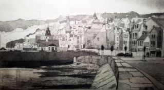 Barry Owen Jones, RWS, RE (British, 1934-2018) Limited edition 'St. Peter Port from Glategny' (