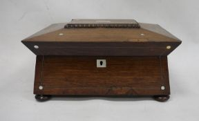 19th century rosewood and mother-of-pearl inlaid jewellery boxon squat bun feet and turned rosewood