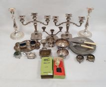 Assorted plated wareincluding candelabra, christening mug, bowls, salts, fish servers, etc and