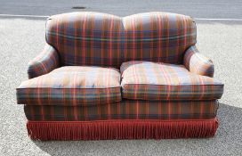 Modern two-seat sofain tartan upholstery, the whole in the manner of Howard & Sons of London,